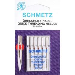 Aiguille schmetz ohrschlitz quick theading  705 HDK 80 12 boite de 5 aiguilles
