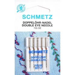 Aiguille schmetz Doppelohr Nadel Double Eye Needle 705 DE 80 12  la boite de 5 aiguilles