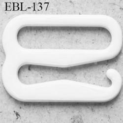 Crochet métal 13 mm plastifié couleur blanc brillant largeur intérieur de passage de bretelle 13 mm haut de gamme prix / pièce