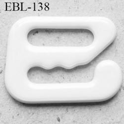 Crochet métal 8 mm plastifié couleur blanc brillant largeur intérieur de passage de bretelle 8 mm haut de gamme prix / pièce