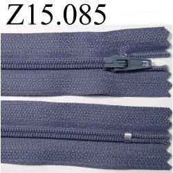 fermeture longueur 15 cm couleur bleu gris  non séparable zip nylon largeur 2,5 cm