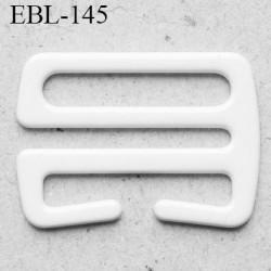 Crochet métal 17 mm plastifié couleur blanc brillant largeur intérieur de passage de bretelle 17 mm haut de gamme prix / pièce