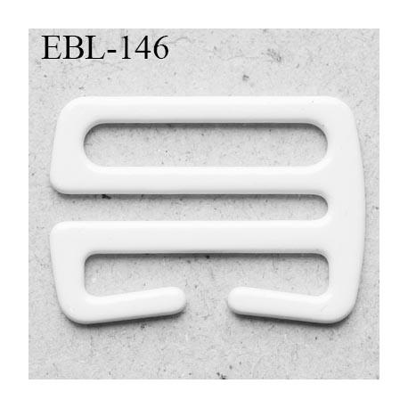 Crochet métal 21 mm plastifié couleur blanc brillant largeur intérieur de passage de bretelle 21 mm haut de gamme prix / pièce