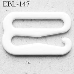 Crochet métal 11 mm plastifié couleur blanc brillant largeur intérieur de passage de bretelle 11 mm haut de gamme prix / pièce