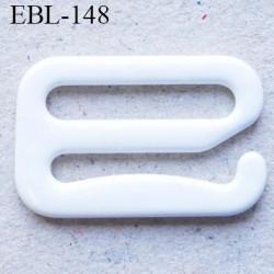 Crochet métal 12 mm plastifié couleur blanc brillant largeur intérieur de passage de bretelle 12 mm haut de gamme prix / pièce