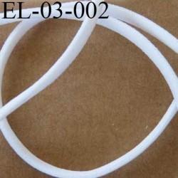élastique plat bombé presque rond  largeur 3 mm épaisseur 2.5 mm couleur blanc lumineux prix au mètre