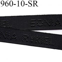 élastique de marque sonia rykiel inscription en surpiquage couleur noir largeur 10 mm vendue au mètre