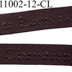 Elastique bretelle 12 mm  ou lingerie couleur marron foncé en surpiqure inscription Christian Lacroix prix au mètre