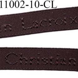 élastique de marque christian lacroix inscription en surpiquage  couleur marron chocolat largeur 10 mm vendue au mètre