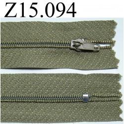 fermeture longueur 15 cm couleur  kaki non séparable zip nylon largeur 2.5 cm