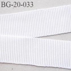 Galon ruban 20 mm passementerie gros grain coton  largeur 20 mm couleur blan brillant très très solide prix au mètre