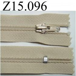 fermeture longueur 15 cm couleur beige non séparable zip nylon largeur 2.5 cm