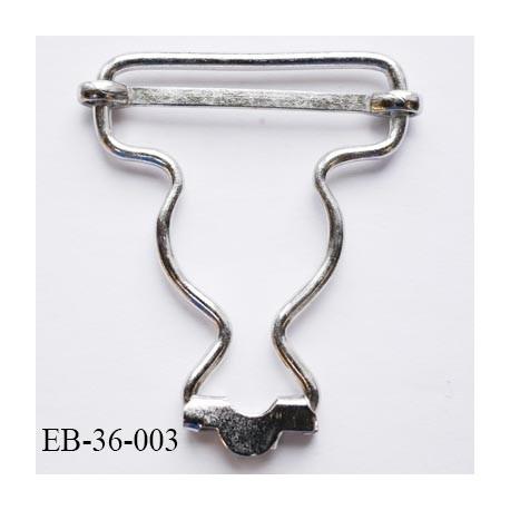 Boucle 36 mm  coulissante salopette en métal chromé largeur 3.6 cm hauteur 4.6 cm passage de sangle 3.2 cm épaisseur 2.2 mm