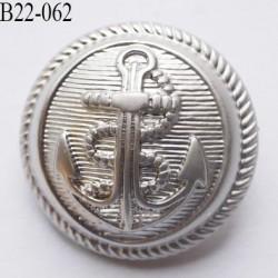 bouton 22 mm en pvc ancre marine couleur argent diamètre 22 mm accroche au dos avec un anneau prix a la pièce