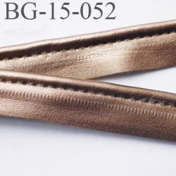 passepoil 15 mm  galon façon cuir  très agréable au touché largeur 15 mm couleur bronze cuivré brillant  prix au mètre