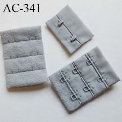 Agrafe attache rallonge extension de soutien gorge 3 hauteurs 2 crochets largeur 38 mm hauteur 53 mm couleur gris