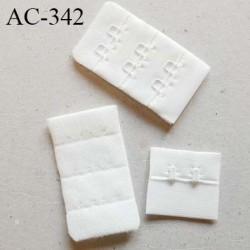 Agrafe attache rallonge extension de soutien gorge 3 rangés 2 crochets largeur 30 mm hauteur 53 mm couleur naturel