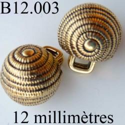 bouton 12 mm doré accroche avec anneau au dos diamètre 12 millimètres