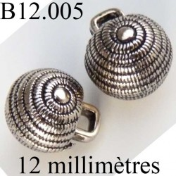 bouton 12 mm couleur argent accroche avec anneau au dos diamètre 12 millimètres