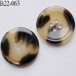 Bouton 22 mm en pvc couleur marron beige ivoire marbré brillant  4 trous épaisseur 3 mm  diamètre 22 millimètres