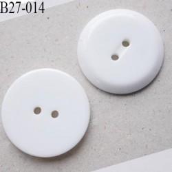 Bouton 27 mm  pvc blanc brillant bord biseauté diamètre 27 mm 2 trous épaisseur 4 mm