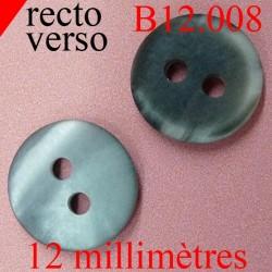 bouton 12 mm  couleur marbré gris et anthracite 2 trous diamètre 12 millimètres
