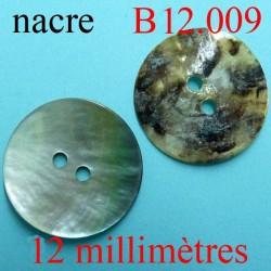 bbouton 12 mm  en nacre  2 trous diamètre 12 millimètres