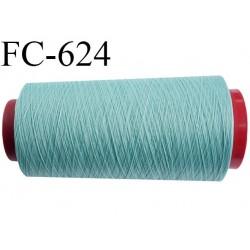Cone de fil mousse 1000 mètres polyamide fil n° 100/2 couleur bleu vert lagon longueur 1000 mètres bobiné en  France