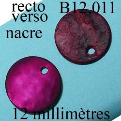 bouton 12 mm  en nacre  1 trou diamètre 12 millimètres