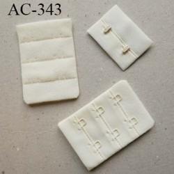 Agrafe attache rallonge extension de soutien gorge 3 rangés 2 crochets largeur 38 mm hauteur 55 mm couleur écru crème ivoire