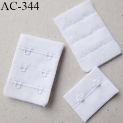 Agrafe attache rallonge extension de soutien gorge 3 rangés 2 crochets largeur 38 mm hauteur 55 mm couleur  blanc