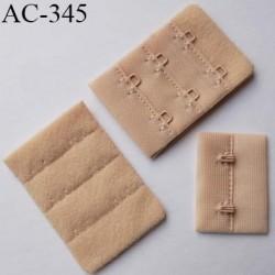 Agrafe attache rallonge extension de soutien gorge 3 rangés 2 crochets largeur 38 mm hauteur 55 mm couleur  chair