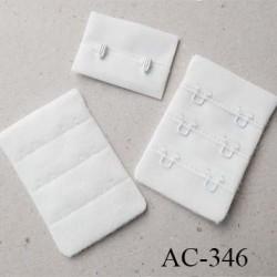 Agrafe attache rallonge extension de soutien gorge 3 rangés 2 crochets largeur 38 mm hauteur 55 mm couleur  prêt a teindre