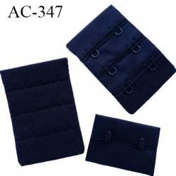Agrafe attache rallonge extension de soutien gorge 3 rangés 2 crochets largeur 38 mm hauteur 55 mm couleur  noir