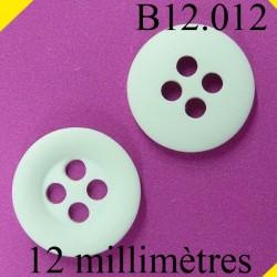 bouton 12 mm   couleur blanc 4 trous diamètre 12 millimètres