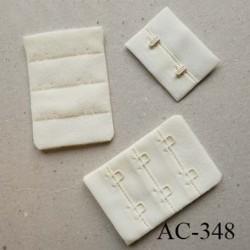 Agrafe attache rallonge extension de soutien gorge 3 rangés 2 crochets largeur 30 mm hauteur 55 mm couleur écru crème ivoire