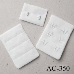 Agrafe attache rallonge extension de soutien gorge 3 rangés 2 crochets largeur 30 mm hauteur 55 mm couleur  prêt a teindre