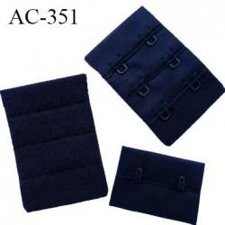 Agrafe attache rallonge extension de soutien gorge 3 rangés 2 crochets largeur 30 mm hauteur 55 mm couleur  noir