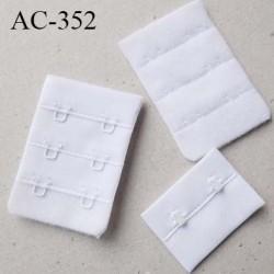 Agrafe attache 30 mm rallonge extension de soutien gorge 3 rangés 2 crochets largeur 30 mm hauteur 55 mm couleur  blanc