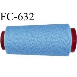 CONE de 5000 m fil polyester fil n° 120 couleur bleu  longueur de 5000 mètres bobiné en France