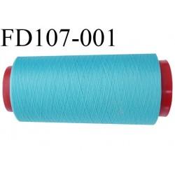 Destockage  Cone de 2000 m  fil mousse polyester fil n° 150 couleur bleu turquoise  longueur 2000 mètres bobiné en France