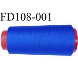 Destockage  Cone de 2000 m  fil mousse polyester fil n° 150 couleur bleu lumineux  longueur 2000 mètres bobiné en France