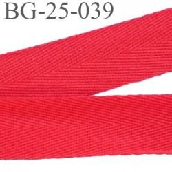 biais galon ruban sergé 25 mm couleur rouge 100%  coton souple et doux largeur 25 mm prix au mètre