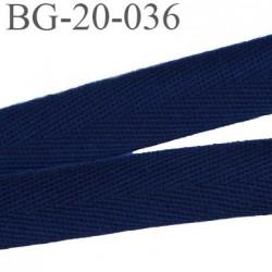 biais galon ruban sergé 20 mm couleur bleu marine 100%  coton souple et doux largeur 20 mm prix au mètre