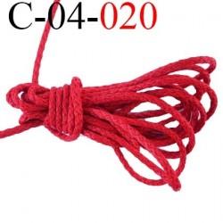 cordon coton et synthétique 4 mm  couleur rouge diamètre 4 mm prix au mètre