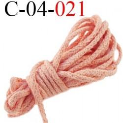 cordon coton et synthétique 4 mm  couleur saumon diamètre 4 mm prix au mètre