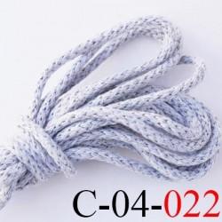 cordon coton et synthétique 4 mm  couleur gris clair diamètre 4 mm prix au mètre
