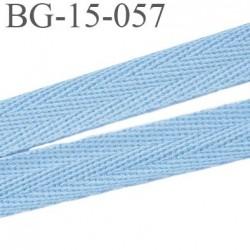 biais galon ruban sergé 15 mm couleur bleu clair 100%  coton souple et doux largeur 15 mm prix au mètre