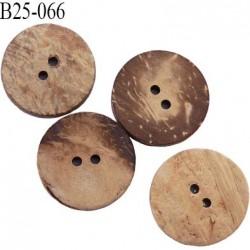 Bouton en pvc façon bois 25 mm 2 trous épaisseur 4.5 mm diamètre 25 mm couleur écorce beige et marron
