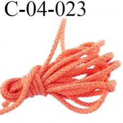 cordon coton et synthétique 4 mm  couleur orange coraillé diamètre 4 mm prix au mètre